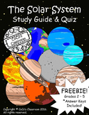Solar System Study Guide & Quiz FREEBIE