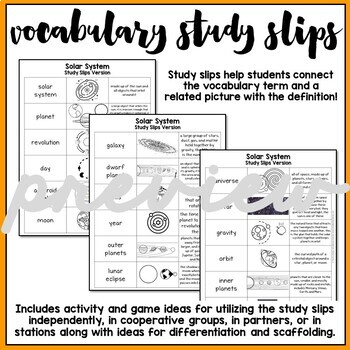 Solar System, Sun, and Stars Vocabulary Mats, Study Slips, and Quizzes