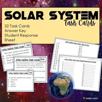 Solar System Task Cards- 32 Cards with Answer Key