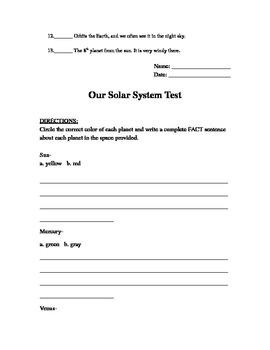 Solar System Test- 3rd grade
