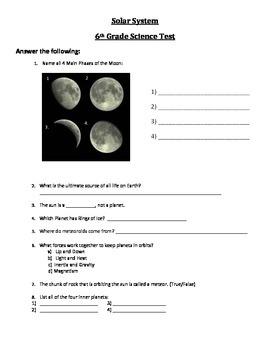 Solar System Test - 6th Grade