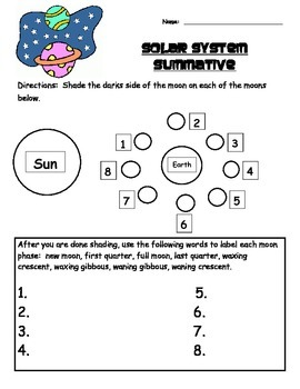 Solar System Test, Study Guide, and Answer Key