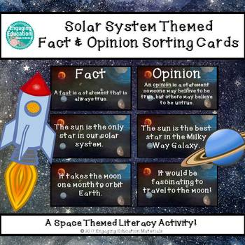 Solar System Themed Fact and Opinion Sorting Cards