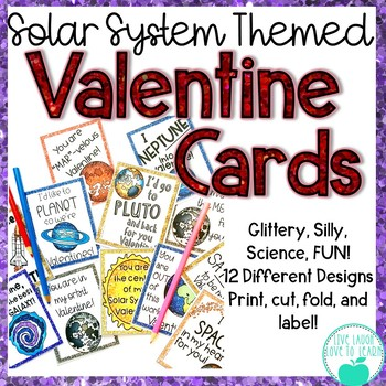 Solar System Themed Valentine's Day Cards