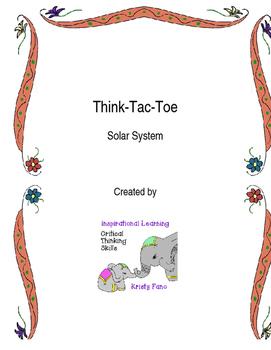 Solar System Tic-Tac-Toe Choice Board