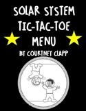 Solar System Tic Tac Toe Choice Board