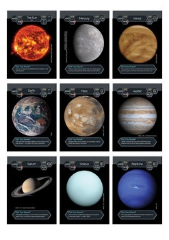 Solar System Trading Cards - Sun and Planets