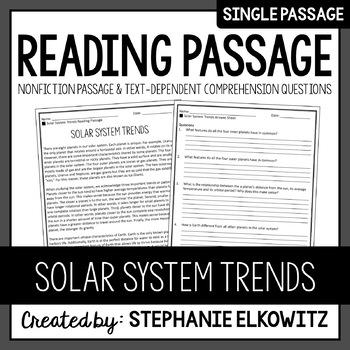 Solar System Trends Reading Passage