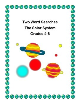 Free Solar System Review  -Two Word Searches-Grades 4-8