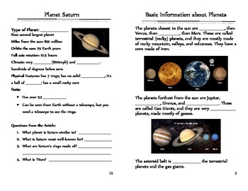 Solar System Unit* Interactive* Text-Dependent Questions