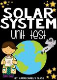 Solar System Unit Assessment