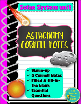 Earth Science: Astronomy Bundle- Solar System Unit (5 Cornell Notes)