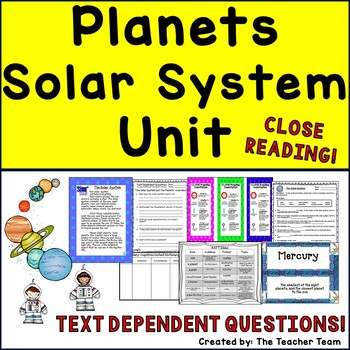 Planets - Solar System Unit ~ Close Reading ~ Text Dependent Questions