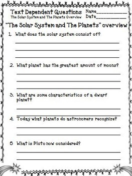 Planets Solar System Unit with Text Dependent Questions for Close Reading