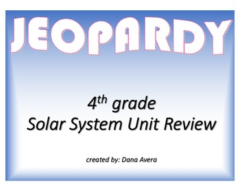 Solar System Unit Review Game
