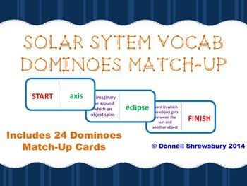 Solar System Vocab Dominoes Match-Up Activity