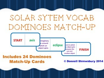 Solar System Vocab Dominoes Match-Up Activity