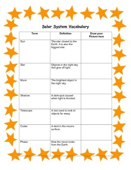 Solar System Vocabulary