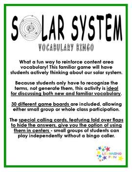 Solar System Vocabulary Bingo