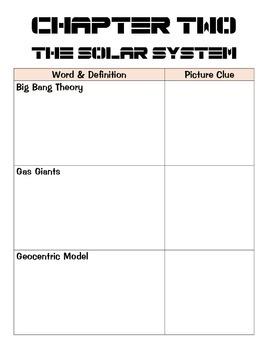 Solar System Vocabulary Chart