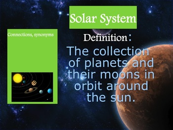 Solar System Vocabulary NC ES 3.E.1