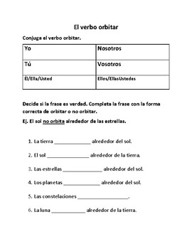 Solar System Vocabulary SPANISH