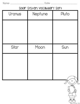 Solar System Vocabulary Sort