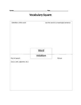 Solar System Vocabulary Squares