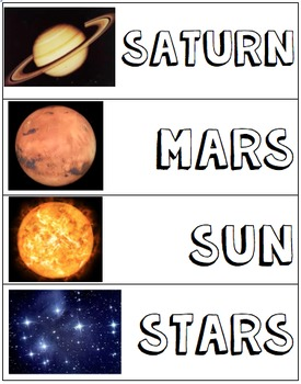 Solar System Vocabulary Word Wall Cards