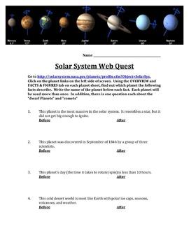 Solar System Webquest and Bingo Game