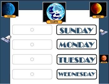 Solar System Weekday Chart! Solar System Bulletin Board! Space Theme!
