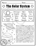 Solar System Worksheets, Planets Worksheets, Word Search and Maze