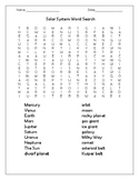 Solar System Word Search and Activities