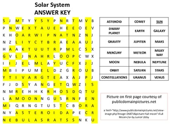 Solar System Word Search / Word Find