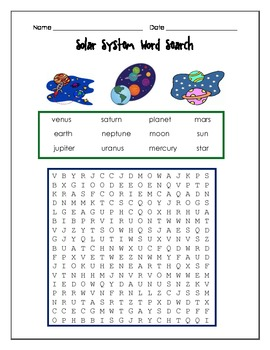 Solar System Word Search-planets, etc.