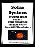 Solar System Word Wall:  TEKS GRADE 3 Unit 6; Also NGSS Vocabulary