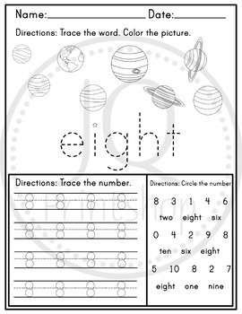 Solar System Worksheets 1-10 Trace the Numbers - Trace the word