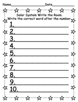 Solar System Write the Room