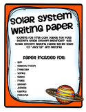 Solar System Writing Paper