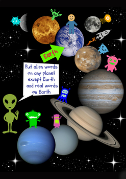 Solar System alien / real words game - Phonics screening words - GREAT FUN !