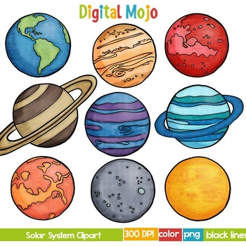 Solar System and Planet Clipart by Digital Mojo | TpT