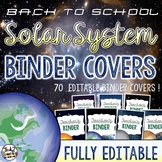 Solar System and Space Classroom Decor Binder Covers EDITABLE