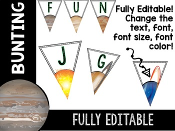 Solar System and Space Classroom Decor Bunting EDITABLE
