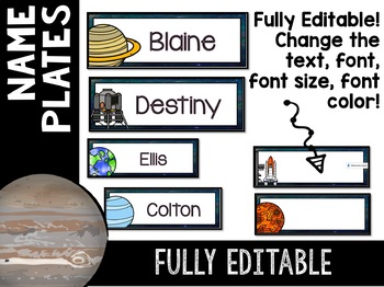 Solar System and Space Classroom Decor Name Plates EDITABLE
