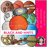 Solar System clip art - BLACK AND WHITE- by Melonheadz