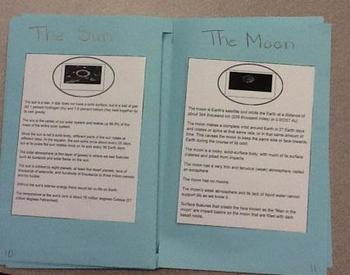 Solar System burrito book and quiz w/ Frayer model graphic organizers