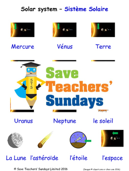 Solar System in French Worksheets, Games, Activities and Flash Cards