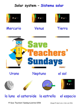 Solar System in Spanish Worksheets, Games, Activities and Flash Cards