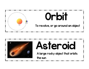 Solar System/Space Posters and Word Wall