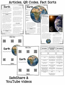 Solar Sytem: Informational Article, QR Code Research Page & Fact Sort